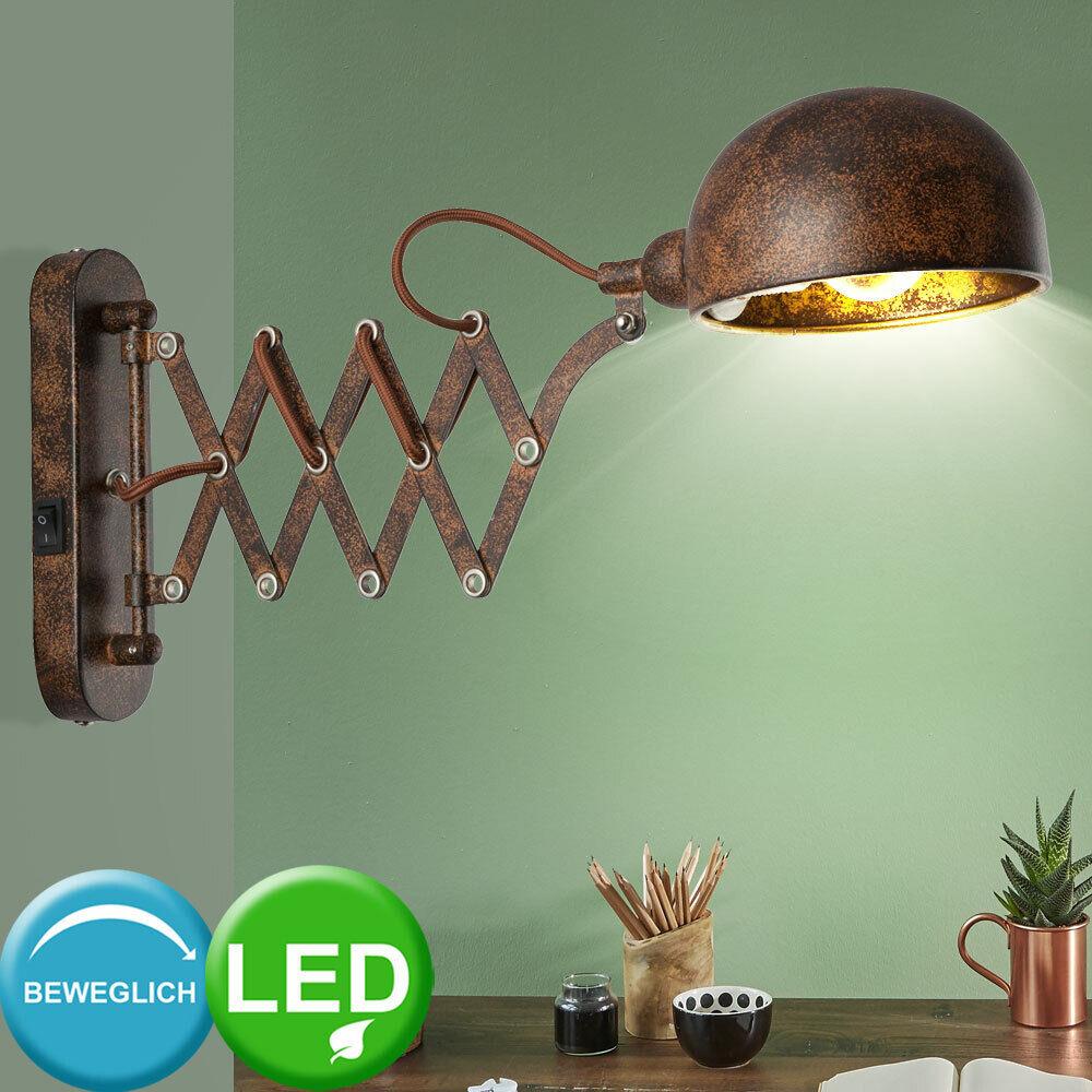 LED Retro Wand Strahler Gold rost Zieharmonika Arbeits Zimmer Lampe beweglich