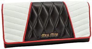 650-MIU-MIU-Noir-Blanc-Rouge-Nappa-Motard-en-Cuir-Clutch-Wallet-Limited-Edition