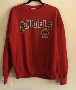 Vintage-Anaheim-Angels-Baseball-Sweater-Sweat-Shirt-Red-Size-Large-VTG-F