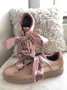hot sale online ae2ab 5b979 Details about Puma Women's Basket Heart Metallic Trainers in Copper Rose  Gold Size 5