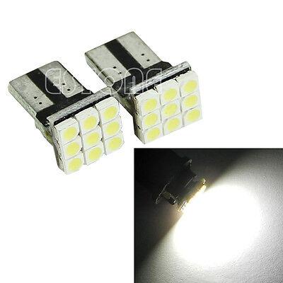 2 x T10 194 168 W5W 9 LED 3528 SMD Wedge White Car Turn Signals Light Lamp Bulb