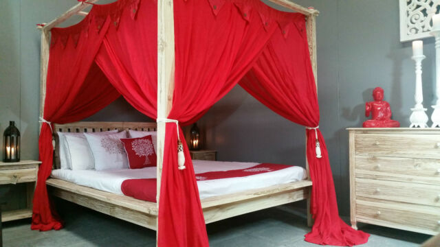 Four Poster Bed Canopy Mosquito Net 155cmx205cm Red Queen