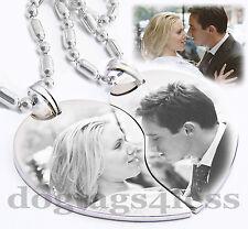 Custom Image Split Heart Couple Pendant Necklaces Christmas GIft Free Engraving