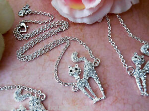 GIRL-039-S-RHINESTONE-KITTY-NECKLACE-SILVER-PLATED-CABLE-CHAIN-amp-HEART-CLASP-3956