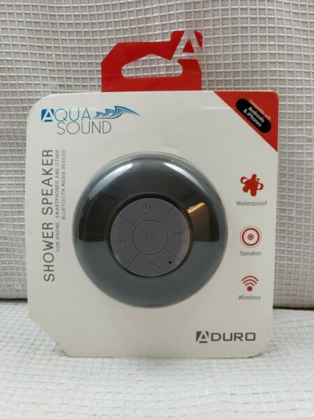 *new* Aduro Aqua-sound Shower Speaker Black Bluetooth Wireless Waterproof