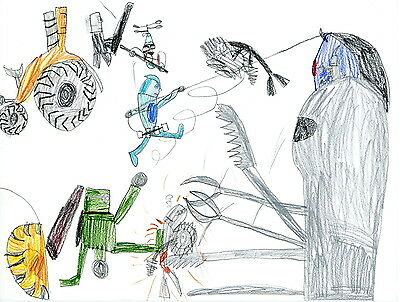 Robot Mischief 2 by 7-year-old Jack; Reprint; 100/% of sales donated