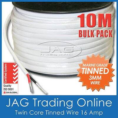 10M x 3mm MARINE GRADE TINNED 2-CORE TWIN SHEATH WIRE / BOAT ELECTRICAL CABLE