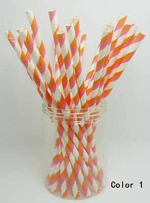 25 PCS Colorful Diagonal Striped Paper Drinking Straws Wedding Birthday Color 1