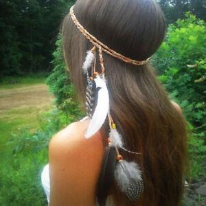 Indian-Feather-Boho-Hippie-Headband-Headdress-Tribal-Hair-Rope-Headpieces-New
