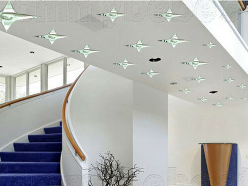Stars Decorative Mirrors Self Adhesive Tiles Wall Stickers Decor 43pcs//lot