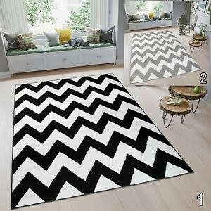 Details About Modern Tapiso Zig Zag Rug Large Black White Grey High Quality Carpet Soft Pile