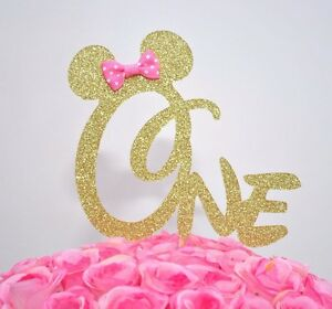 Groovy Minnie Mouse Glitter One Cake Topper First Birthday Party Gold Funny Birthday Cards Online Elaedamsfinfo