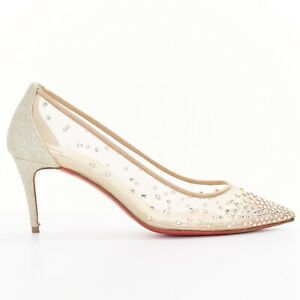 20433eca3f9 CHRISTIAN LOUBOUTIN Follies Strass 70 nude mesh crystal gold bridal ...