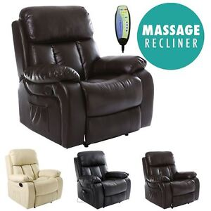 Image Is Loading CHESTER HEATED LEATHER MASSAGE RECLINER CHAIR SOFA LOUNGE