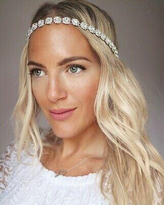 Silver Diamante Headband Bridal 1920s Headpiece Great Gatsby Rhinestone Vtg 3824