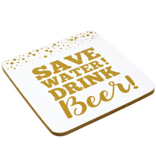 Gold Square Slogan Drinks Coasters Set 4 Humorous Beer Themed Novelty Mats