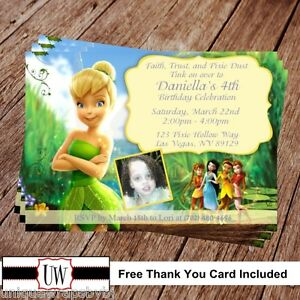 Image Is Loading Tinkerbell Amp Fairies Birthday Invitation Disney Party Printable