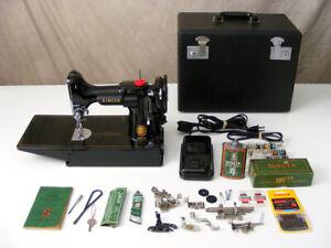Vintage 1954 Singer FEATHERWEIGHT 221 Sewing Machine w/ CASE + Attach ~ Works!