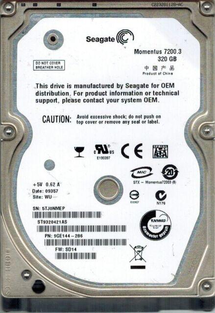Seagate ST9320421AS P/N: 9GE144-286 F/W: SD14 320GB WU