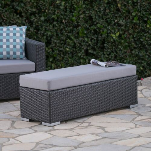 Santa Rosa Outdoor Wicker Bench with Water Resistant Cushion