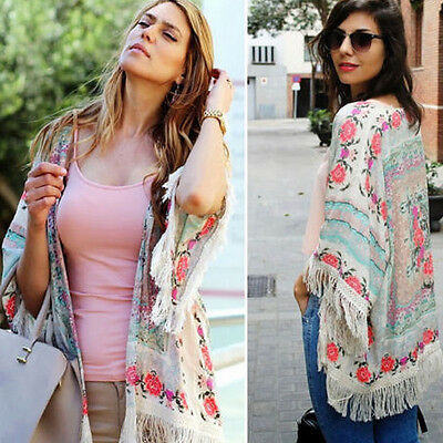 Vintage Retro Boho Hippie Tassels Chiffon Top Kimono Coat Cape Jacket Cardigan
