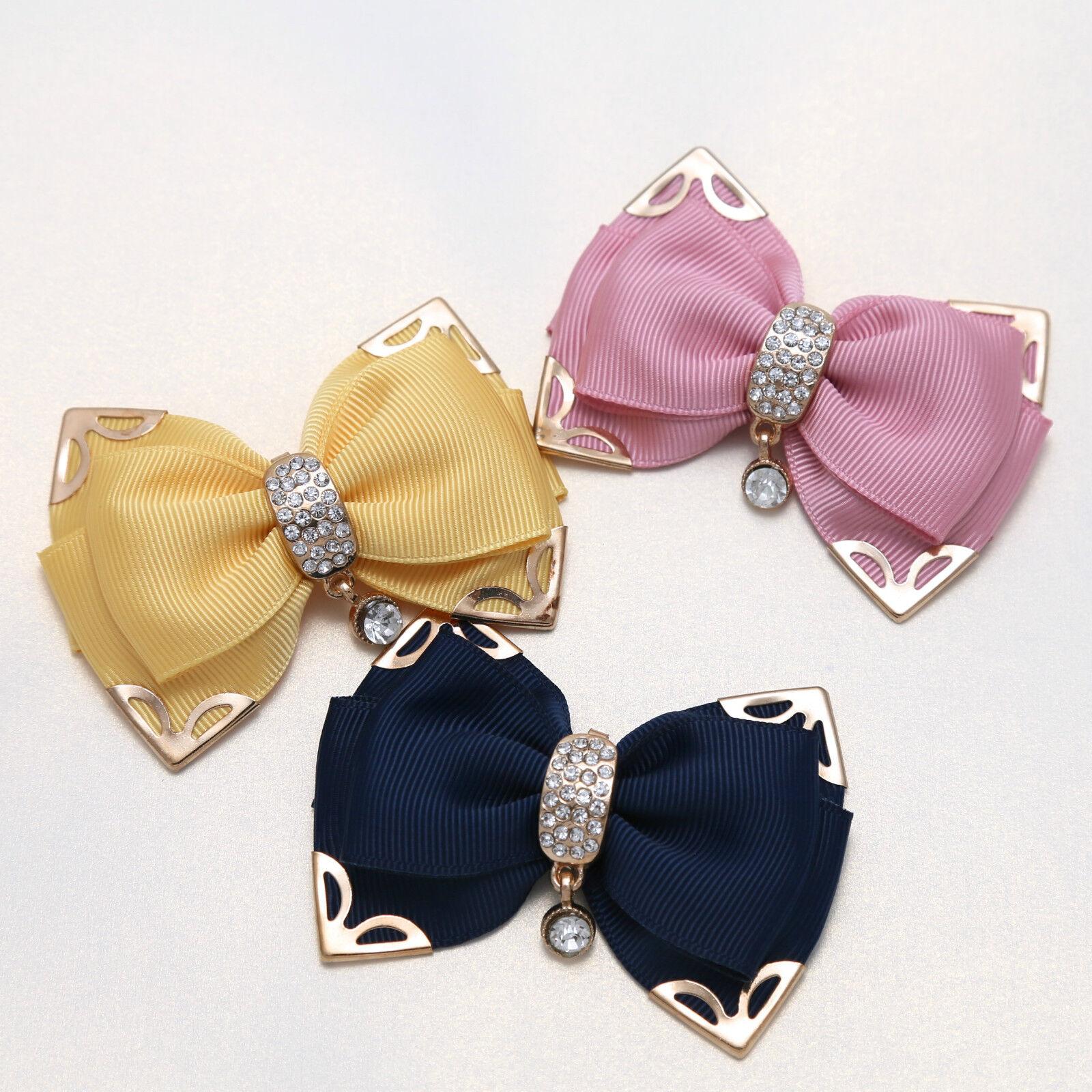 2Pcs Diamante Crystal Color Bow Shoes Shoe Clips Charms