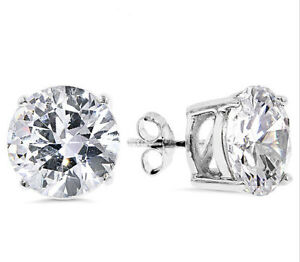Image Is Loading Mens Round Diamonique Cz Solitaire Stud Earrings Real