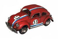 Beetle Herbie 53 Red - Tin Handmade Model Rally Car Ornament