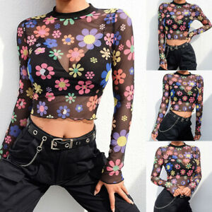 8c4702f3d36 Details about US Sexy Womens Long Sleeve See Through Sheer Mesh Flower Crop  Top Lace T-Shirt