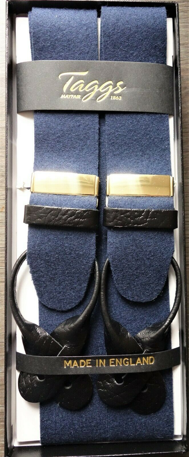 Taggs Navy Woolfelt Braces Y Back fitting with Black leather Ends Gold Fittings