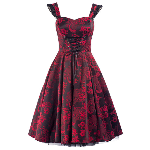 PRETTY KITTY 50s BLACK RED JACQUARD VINTAGE TEA PROM PARTY COCKTAIL DRESS 8-20