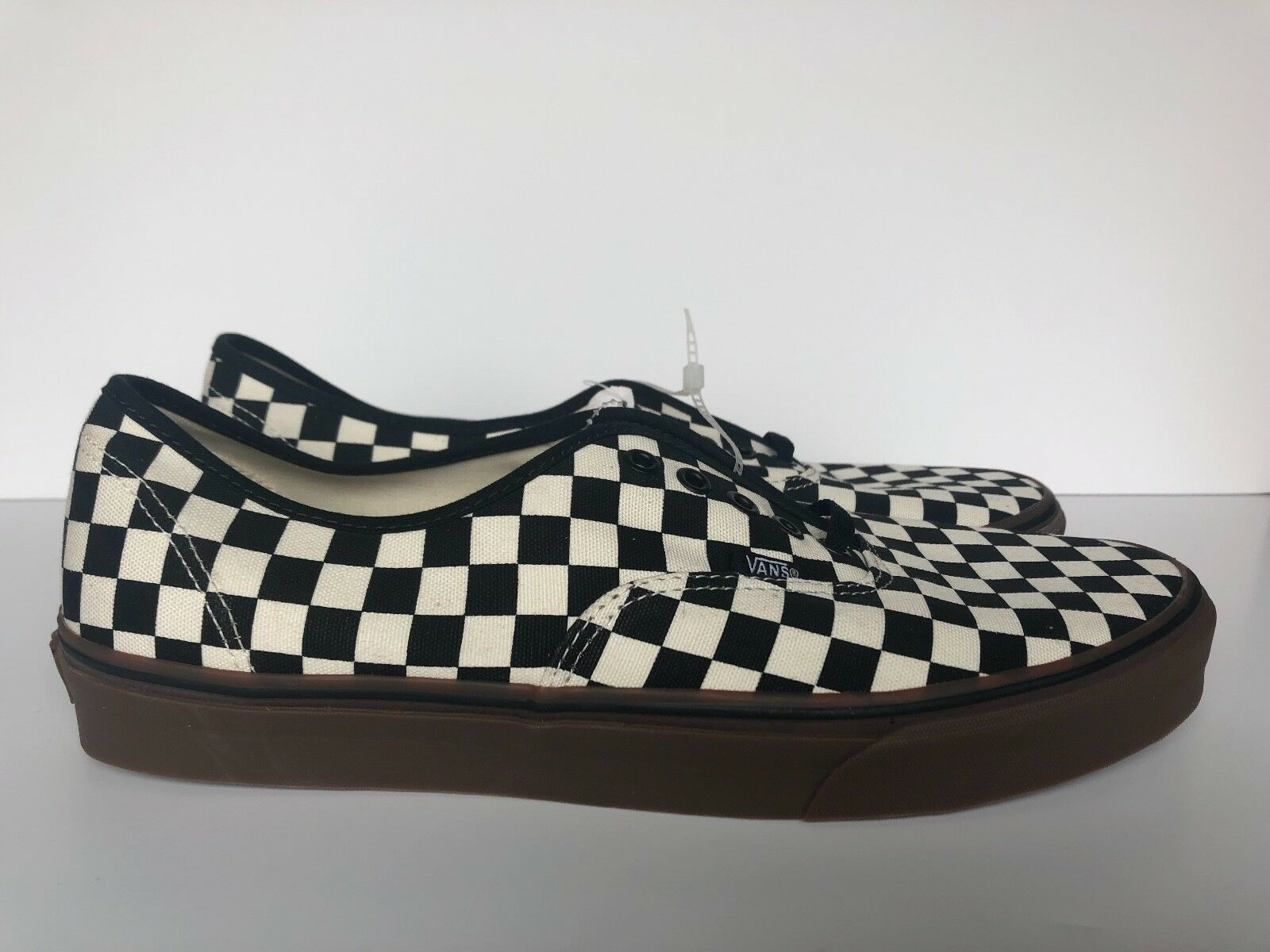 Vans Authentic Classic Checker Gum Sole White Black Size-13 NO SHOEBOX NEW!!