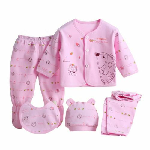 Unisex Infant Outfits with Animals Floral 5pcs Newborn Baby Clothes Sets 0-3M