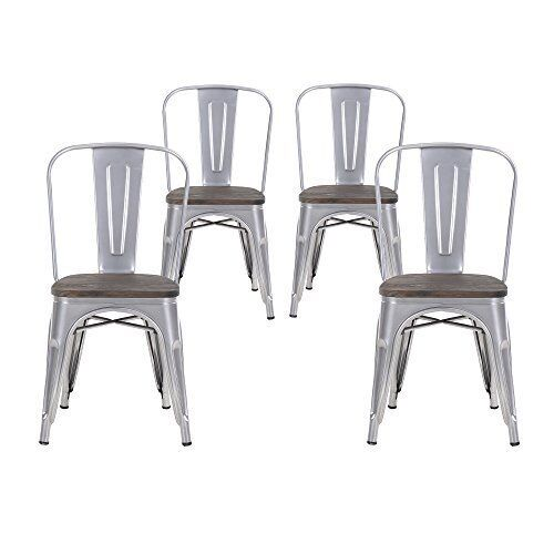 Super Set Of Four Gray Wooden Seat Metal Indoor Outdoor Stackable Chairs With Back Gmtry Best Dining Table And Chair Ideas Images Gmtryco
