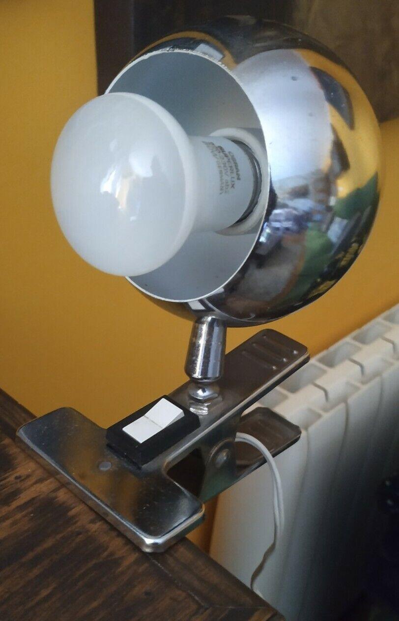 Antigua Lámpara Vintage De Pinza años 80 Cromada Decoración Iluminación Lamp E27