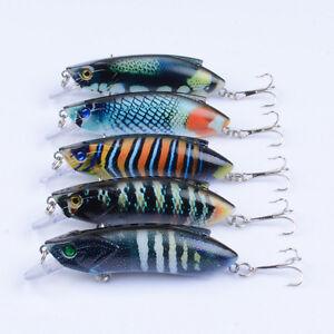 5PCS 8cm//6.3g Trolling Bait Minnow Fishing Lure Bass Crankbait Tackle Wobbler