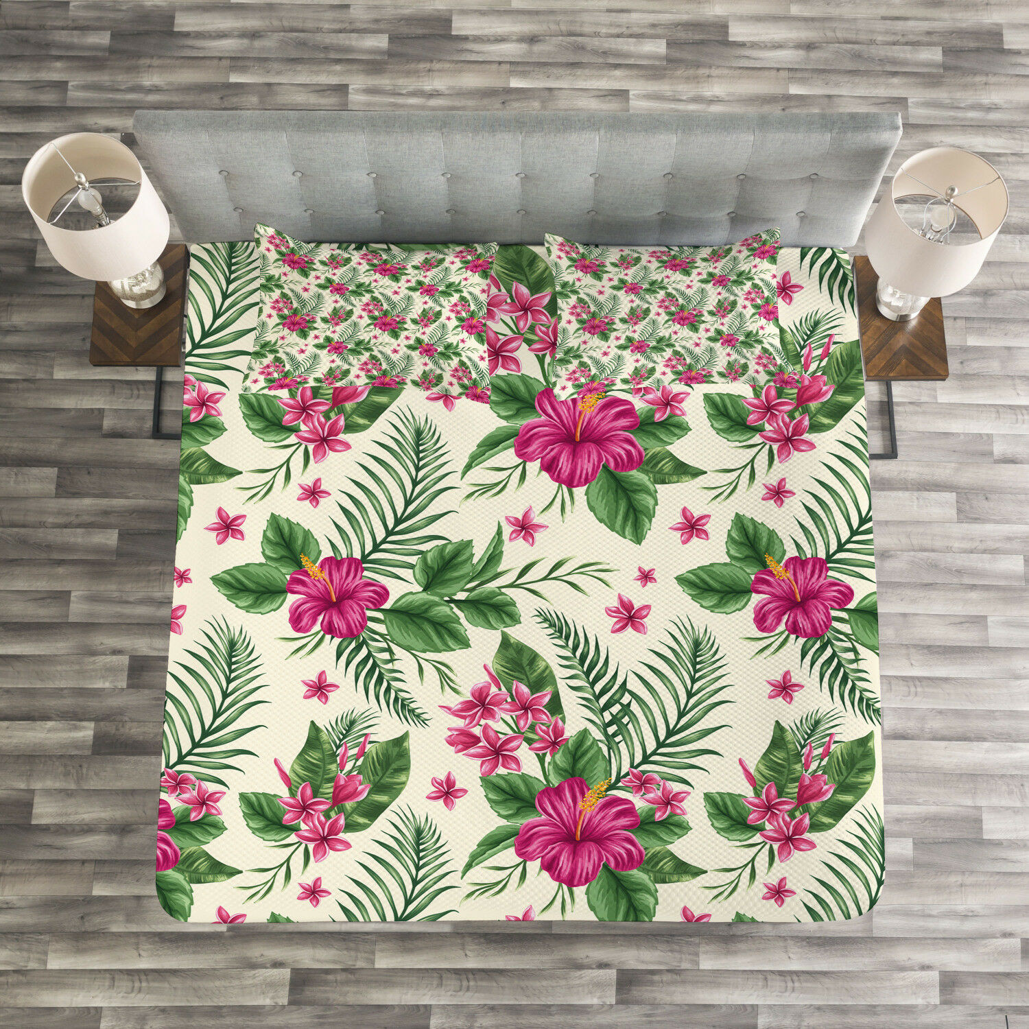 Watercolor Quilted Bedspread & Pillow Shams Set, Plumeria Hibiscus Print