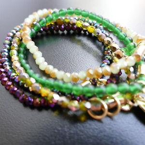 Modeschmuck-Armband-Glasperlen-Orange-Rot-Gruen-GrauKristallperlen-von-Catia-Levy
