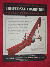 1950s Industrial Engineering Amp Mfg Co Universal Champion Farm Elevator Brochure