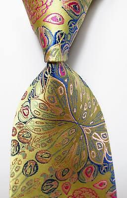 New Classic Floral Paisley Beige Pink Blue JACQUARD WOVEN Silk Men's Tie Necktie