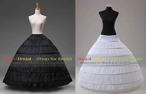 White-Black-6-Hoop-Wedding-Dress-Bridal-Ball-Gown-Crinoline-Petticoat-Skirt-Slip
