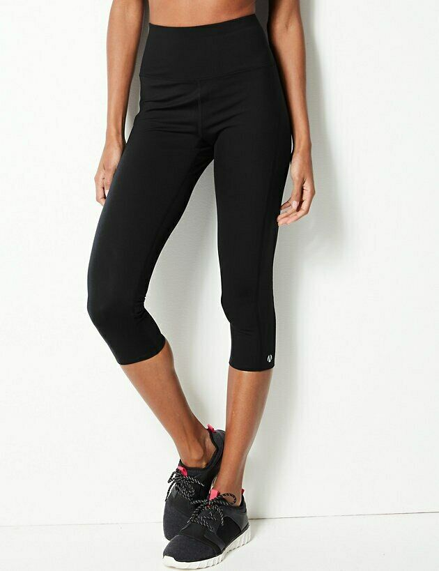Marks + Spencer Quick Dry Cropped Sports Leggings Blackout Noir 24 Bnwt Rrp £ 28