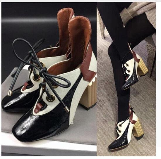 ALS13 2018 Chaud Printemps Femme Lacets Escarpins marée Vintage Bout Carré Square heels