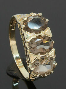 9-Carat-Yellow-Gold-3-Stone-Smoky-Quartz-Ring-Size-N-9CT-80-19-209