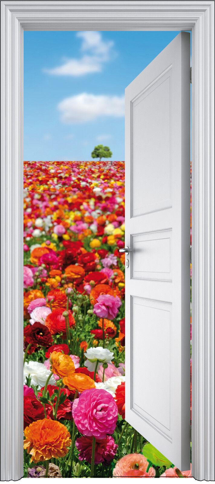 Adhesivo Puerta Trompa Trampantojo Flores 90x200 cm Ref 308