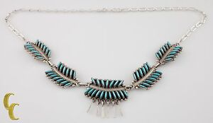 925-Sterling-Silver-amp-Turquoise-Flower-Leaf-Pattern-Necklace