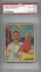 Details About 1935 Diamond Stars Baseball Card 26 Pepper Martin St Louis Cardinals Psa 45