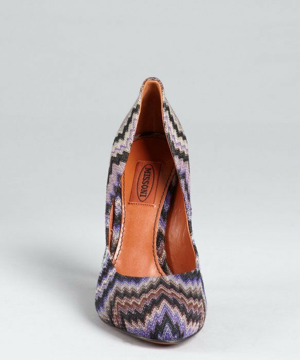 MISSONI violet Wavy Fabric Coverouge Leather Pumps made in italy italy italy sz 36.5 d8ec36