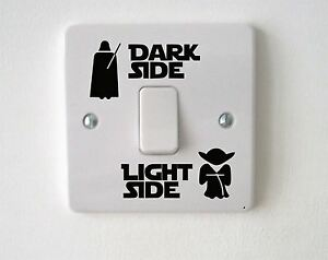 2X-Star-Wars-Dark-Light-Interruttore-laterale-Vinile-Decalcomania-Sticker-bambini-stanza-casa