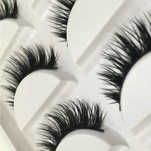 5 Pairs Natural Thick Long Eye Lashes Makeup Handmade Fake Cross False Eyelashes